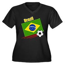 Brazil Soccer Team Women's Plus Size V-Neck Dark T