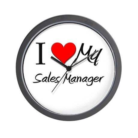 I Heart My Sales Manager Wall Clock