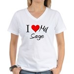 I Heart My Sage Women's V-Neck T-Shirt