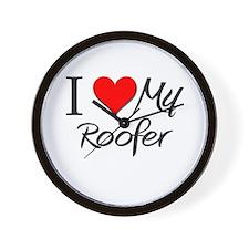 I Heart My Roofer Wall Clock