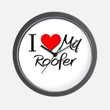 I Heart My Roofer Wall Clock