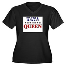 TAYA for queen Women's Plus Size V-Neck Dark T-Shi