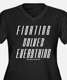 Fighting Solves Everything-w/ Women's Plus Size V-