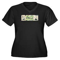 Green Queen Women's Plus Size V-Neck Dark T-Shirt