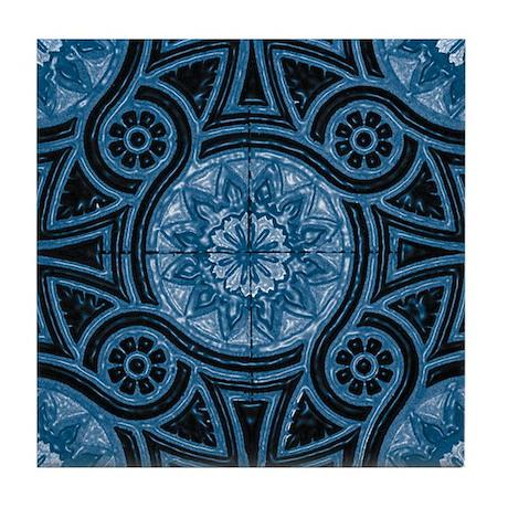 Blue Abstract 4 Tile Coaster