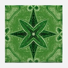 Green Abstract 5 Tile Coaster