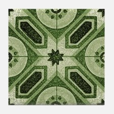 Green Abstract 7 Tile Coaster