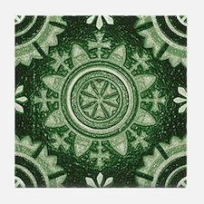 Green Abstract 8 Tile Coaster