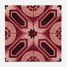 Red Abstract 7 Tile Coaster