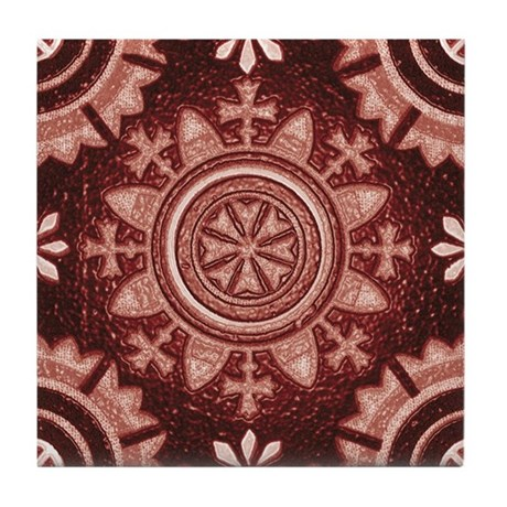 Red Abstract 8 Tile Coaster