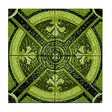 Green Abstract 3 Tile Coaster