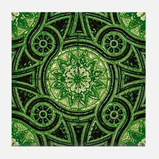 Green Abstract 4 Tile Coaster