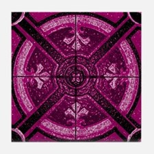 Violet Abstract 3 Tile Coaster