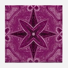 Violet Abstract 5 Tile Coaster