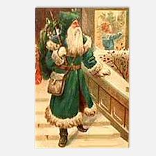 vintage santa green Postcards (Package of 8)