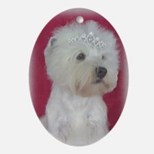 Queen of Hearts Westie Oval Ornament