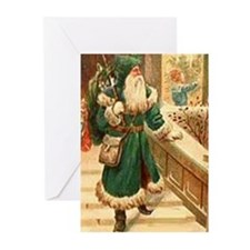 vintage santa green Greeting Cards (Pk of 20)