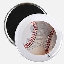 """Skull & Crossbones Baseball 2.25"""" Magnet (10 pack)"""