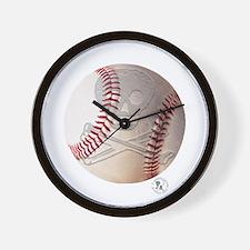 Skull & Crossbones Baseball Wall Clock