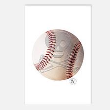 Skull & Crossbones Baseball Postcards (Package of