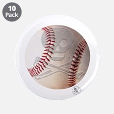 "Skull & Crossbones Baseball 3.5"" Button (10 pack)"
