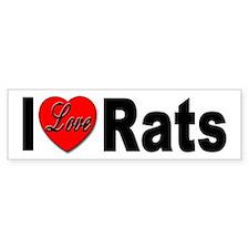I Love Rats Bumper Sticker for Rat Lovers