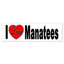 I Love Manatees Bumper Sticker for Manatee Lover