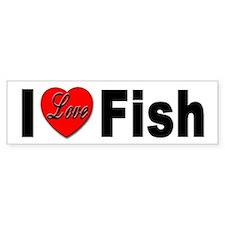 I Love Fish Bumper Sticker for Fish Lovers