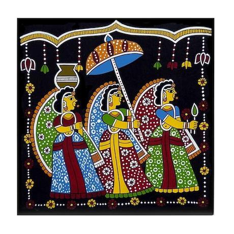 Indian Folkart Tile Coaster