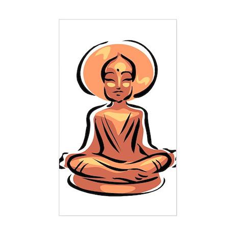 Golden Buddha Statue Rectangle Sticker