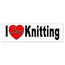 I Love Knitting Bumper Sticker for Knitting Love