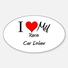I Heart My Race Car Driver Oval Decal