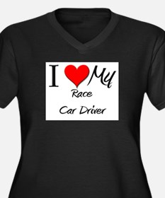 I Heart My Race Car Driver Women's Plus Size V-Nec