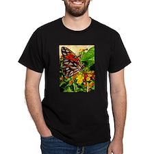 Gulf Fritillary Feeding by Te T-Shirt