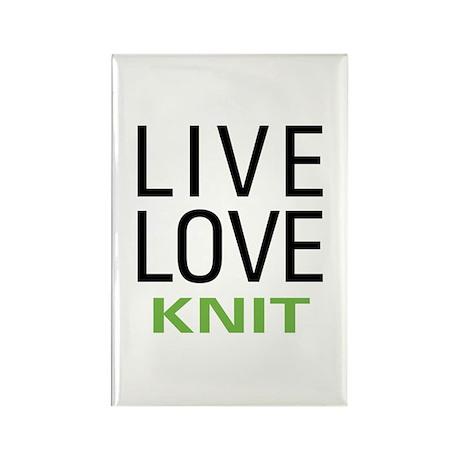 Live Love Knit Rectangle Magnet (10 pack)