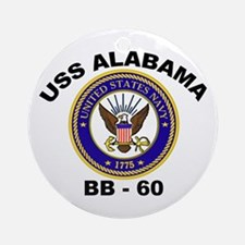 USS Alabama BB 60 Ornament (Round)