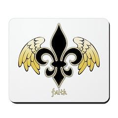 Winged Fleur de lis (black/gold) Mousepad