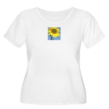 Women's Plus Size Scoop Neck Sunflower T-Shirt