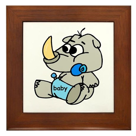 Baby Rhino Framed Tile
