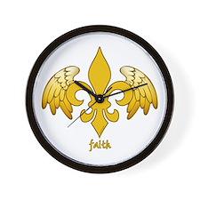 Winged Fleur de lis (gold) Wall Clock