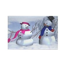 snow couple Rectangle Magnet (100 pack)