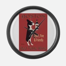 Boston Red Table Wine Large Wall Clock