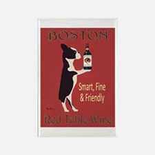 Boston Red Table Wine Rectangle Magnet