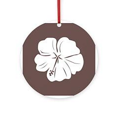 Tropical Hibiscus Flower Art Ornament (Round)