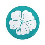 "Tropical Hibiscus Flower Art 3.5"" Button (100 pack"