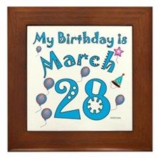 March 28th Birthday Framed Tile
