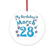 March 28th Birthday Ornament (Round)