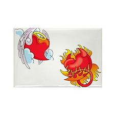 Angel / Devil Heart Rectangle Valentine Magnet