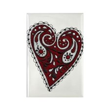 Embroidered Heart Rectangle Valentine Magnet