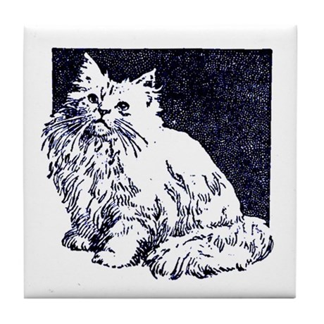 Vintage Blue Cat Drawing Tile Coaster
